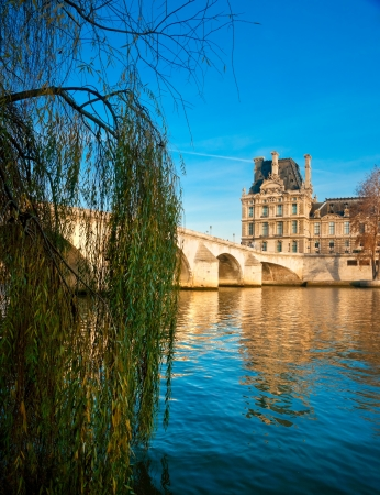 View of the Louvre Museum and Pont Royal, Paris - France