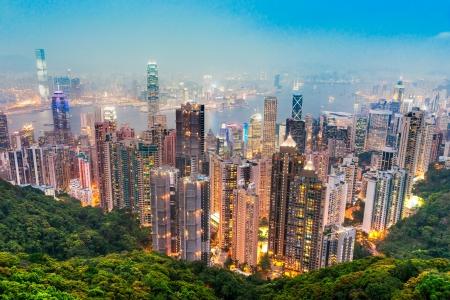 Hong Kong skyline. View from Victoria Peak. Stock fotó