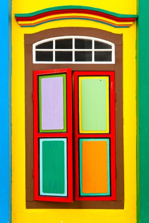 courtain: Colorful window in Little India, Singapore