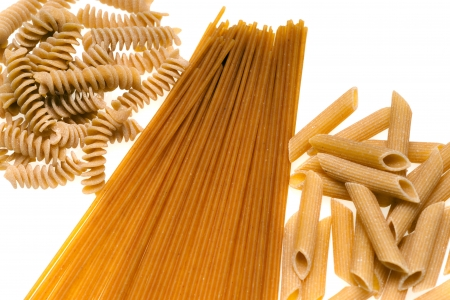 carb: Collection of Whole wheat Pasta isolated on white.
