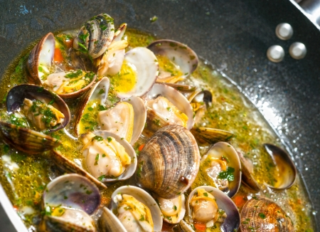 Delicious Fresh Steamer Clams with Garlic and Basil photo
