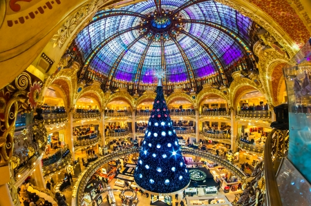PARIS - DECEMBER 07  The Christmas tree at Galeries Lafayette on December 07, 2012, Paris, France   The Galeries Lafayette has been selling luxury goods since 1895