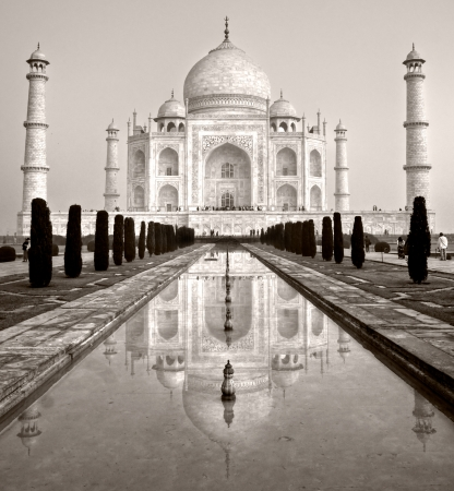 jehan: Panoramic view of Taj Mahal at sunrise, Agra, Uttar Pradesh, India
