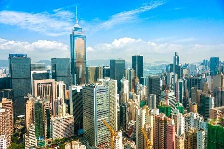 the central bank: Panoramic view of Hong Kong skyline  China