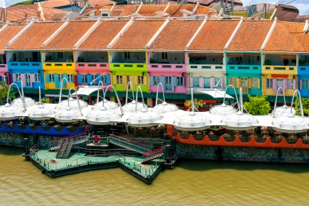 quayside: Colorful facade of building in Clarke Quay, Singapore