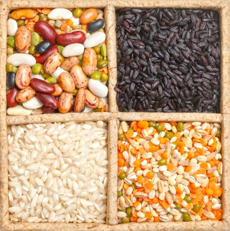 common bean: Group of beans and lentils isolated on white background Stock Photo