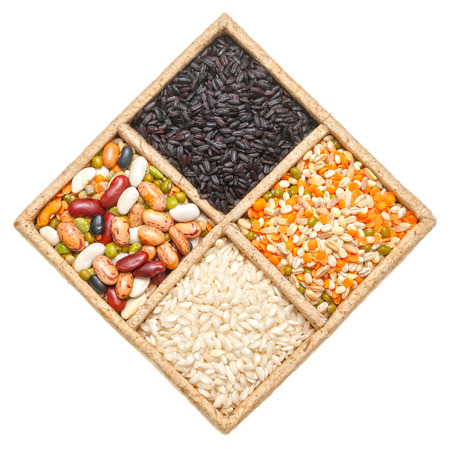 Group of beans and lentils isolated on white background photo