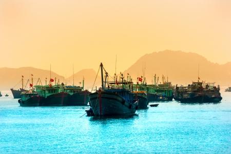 halong: Halong Bay, Vietnam. Unesco World Heritage Site. Most popular place in Vietnam. Stock Photo