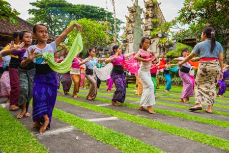 indonesia culture: UBUD, BALI, INDONESIA - NOVEMBER 15: Young dancers learning Barong Dance, the traditional balinese dance on  November 15, 2009 in Ubud, Bali, Indonesia.