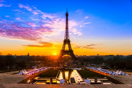 View of the Eiffel tower at sunrise, Paris. Editorial