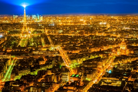 paris night: Aerial view of Paris at night, France