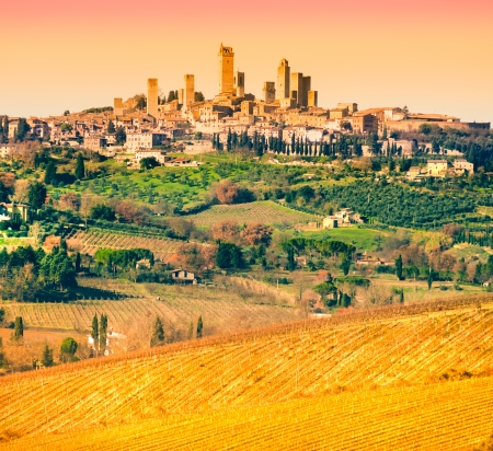 Uitzicht op San Gimignano, Siena, Toscane, Italië Stockfoto