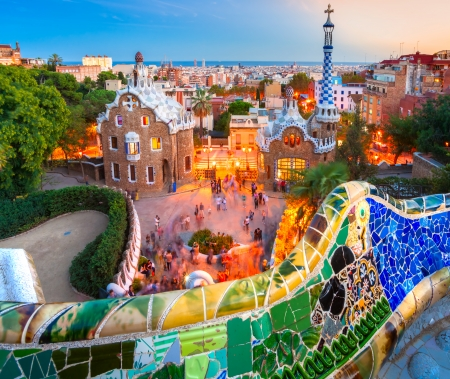 barcelona cathedral: Park Guell in Barcelona, Spain