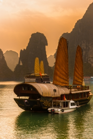 long lake: Halong Bay, Vietnam. Unesco World Heritage Site. Most popular place in Vietnam. Editorial