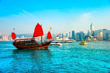 ifc: Hong Kong Harbour at sunset.