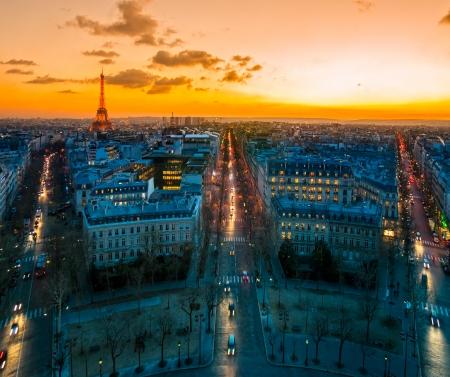 champs elysees quarter: View from Arc de triomphe, Paris. Stock Photo