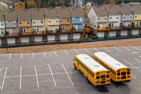 Schoolbuses in a parking, Atlanta, Georgia, USA. photo