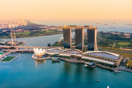 singapore culture: Fish-eye view of Singapore city skyline at sunset.   Editorial