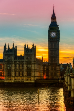 The Big Ben, the House of Parliament and the Westminster Bridge at night, London, UK Stock Photo - 24976453