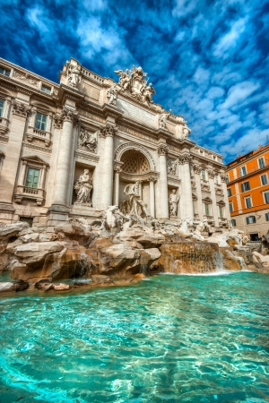 Wide angle view of The Famous Trevi Fountain, rome, Italy