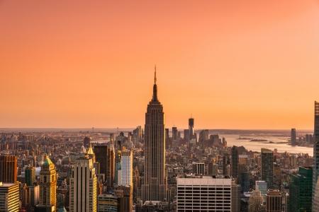 マンハッタン、ニューヨーク市の空撮。米国。