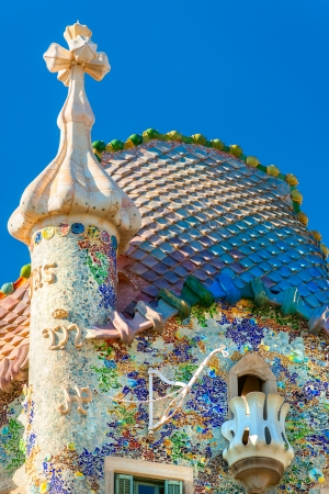 BARCELONA - DECEMBER 16: The facade of the house Casa Battlo (also could the house of bones) designed by Antoni Gaudi­ with his famous expressionistic style on December 16, 2011 Barcelona, Spain