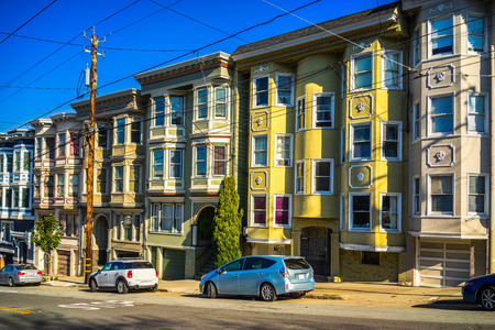 Colorful Victorian homes in San Francisco, California, USA. Stock Photo