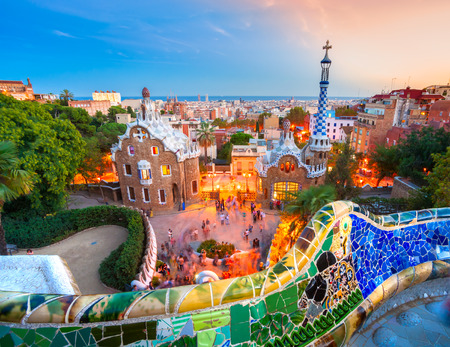 Park Guell in Barcelona, Spain. Redakční
