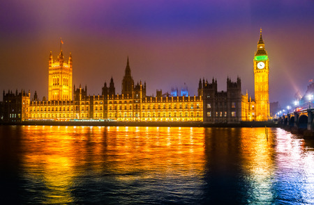 The Big Ben, the House of Parliament and the Westminster Bridge at night, London, UK. Stock Photo - 25636048