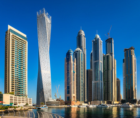 Skyscrapers in Dubai Marina. UAE Editorial
