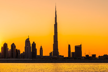 dubai mall: Dubai skyline at dusk, UAE. Editorial
