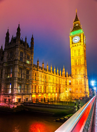 britannia: The Big Ben, the House of Parliament and the Westminster Bridge at night, London, UK. Stock Photo
