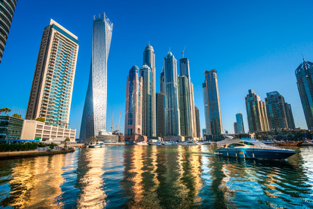 business building: Skyscrapers in Dubai Marina. UAE Editorial