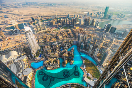 Dubai skyline al crepuscolo, Emirati Arabi Uniti. Archivio Fotografico - 26362767