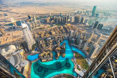 abu dhabi: Dubai skyline at dusk, UAE. Stock Photo
