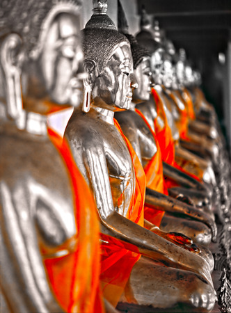 po: Great Collection of Buddha Statue, Wat Po temple, Bangkok, Thailand. Stock Photo