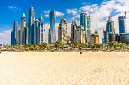 Wolkenkrabbers in Dubai Marina. VAE Stockfoto