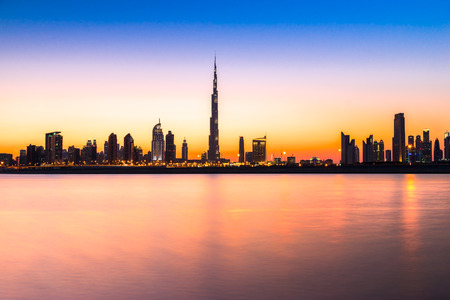 dubai mall: Dubai skyline at dusk, UAE. Stock Photo