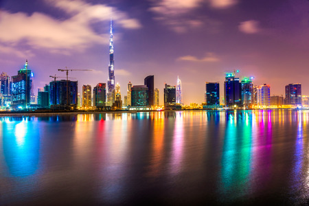 Dubai skyline at dusk, UAE. Фото со стока