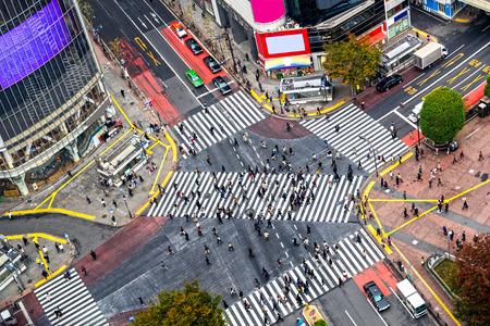 paso de peatones: Vista del Cruce de Shibuya, uno de los pasos de peatones más activos del mundo. Tokio, Japón.