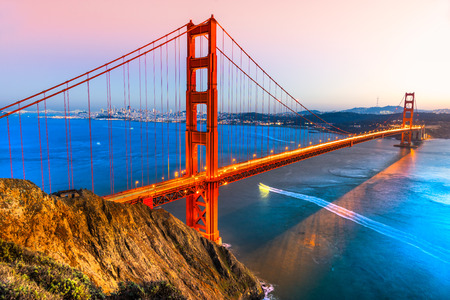 golden light: Golden Gate Bridge, San Francisco, California, USA. Stock Photo