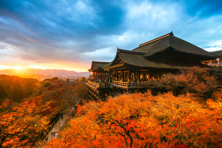 buddhist temple: Autumn Color at Kiyomizu-dera Temple in Kyoto, Japan