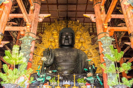 The Great Buddha (Daibutsu-Den) at Todai-ji temple in Nara, Japan.