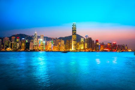 ifc: Panoramic view of Hong Kong skyline. China.