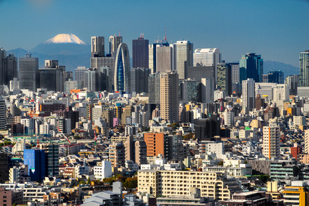 Tokyo skyline with Mount Fuji,  Japan. Stock Photo