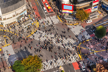 View of Shibuya Crossing, one of the busiest crosswalks in the world. Tokyo, Japan.