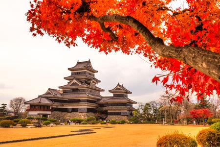秋、長野県の松本城。 報道画像