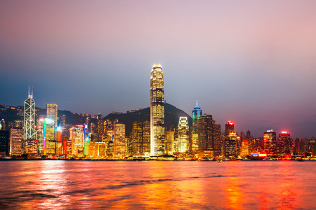 hk: Panoramic view of Hong Kong skyline. China.