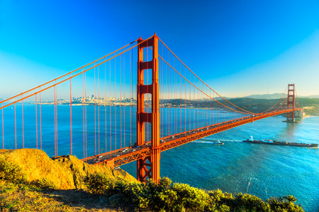 landmarks: Golden Gate Bridge, San Francisco, California, USA. Stock Photo