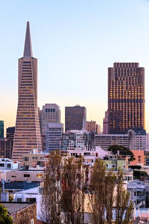 transamerica: Downtown San Francisco at twilight, California, USA.